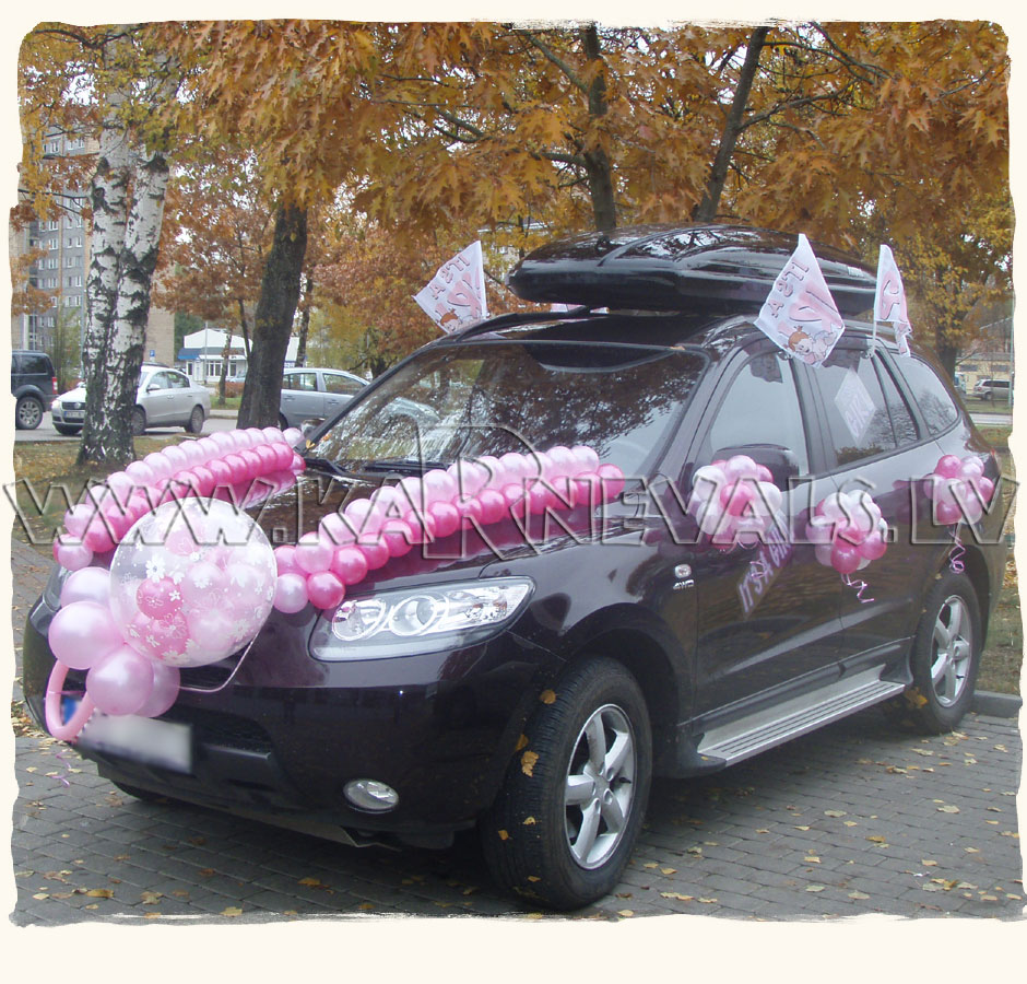 Newborn 39 s car balloon decoration car decoration for Automotive decoration